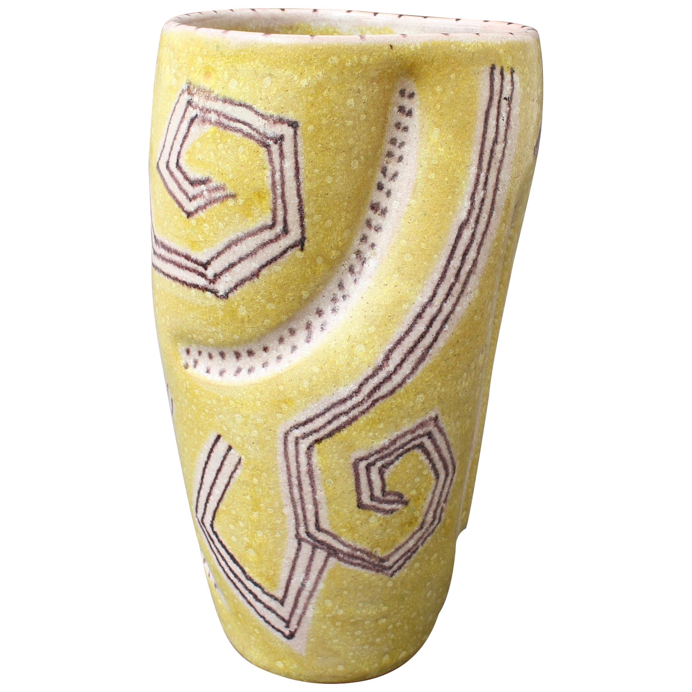 Midcentury Italian Ceramic Vase by Guido Gambone, circa 1950s