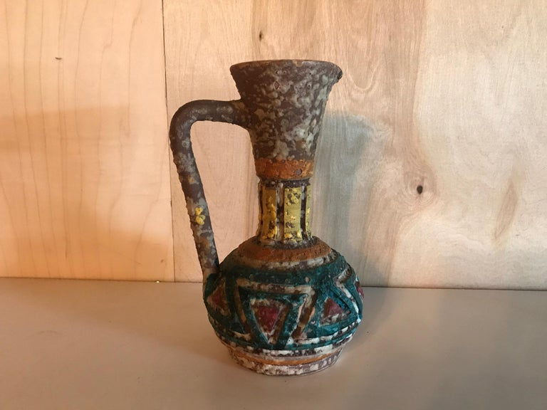 Midcentury Italian ceramic vase pitcher vintage pottery art, made in Italy. Great condition.