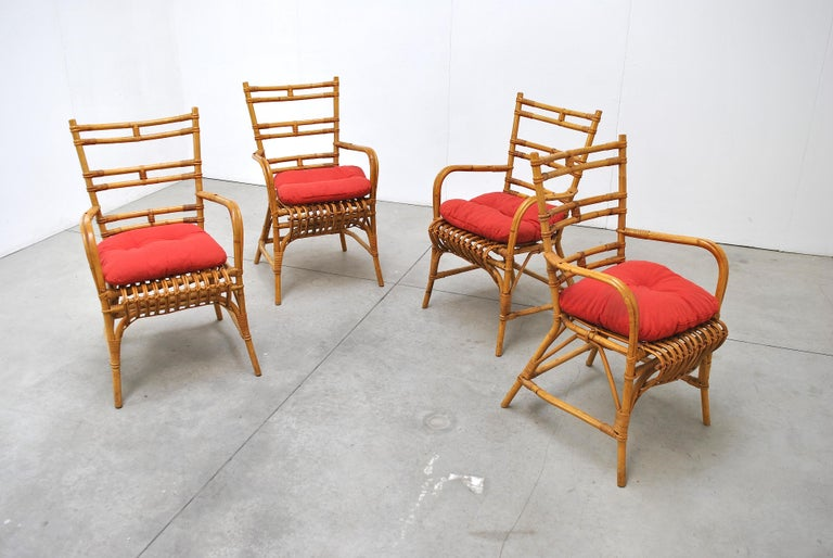 Set of chairs in Bambù an Italian production from the 1960s.  These fabric on these chairs are customized.