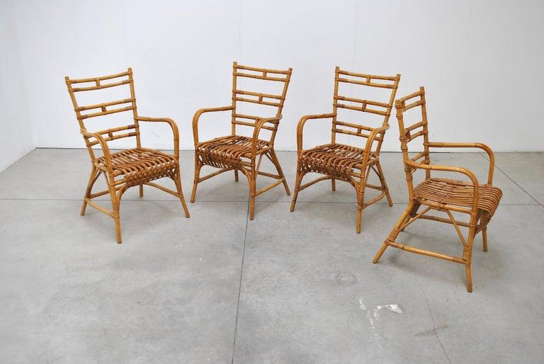 Bamboo Midcentury Italian Chairs in Bambù, 1960s