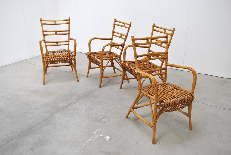 Midcentury Italian Chairs in Bambù, 1960s 1