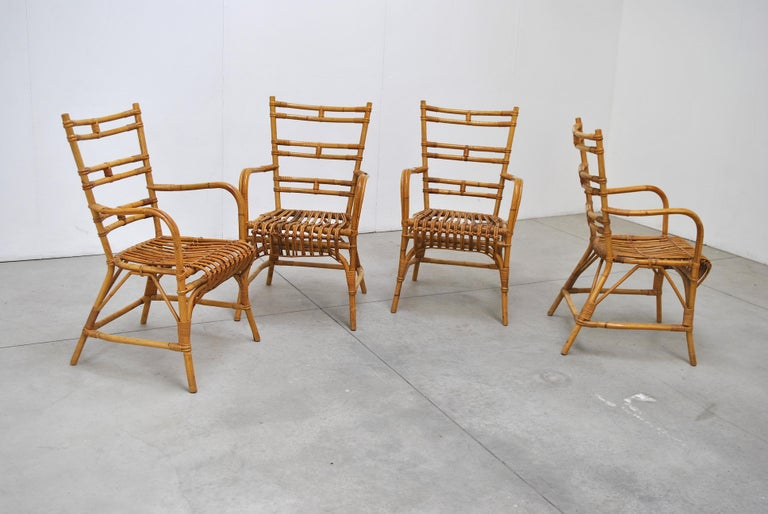 Midcentury Italian Chairs in Bambù, 1960s 2