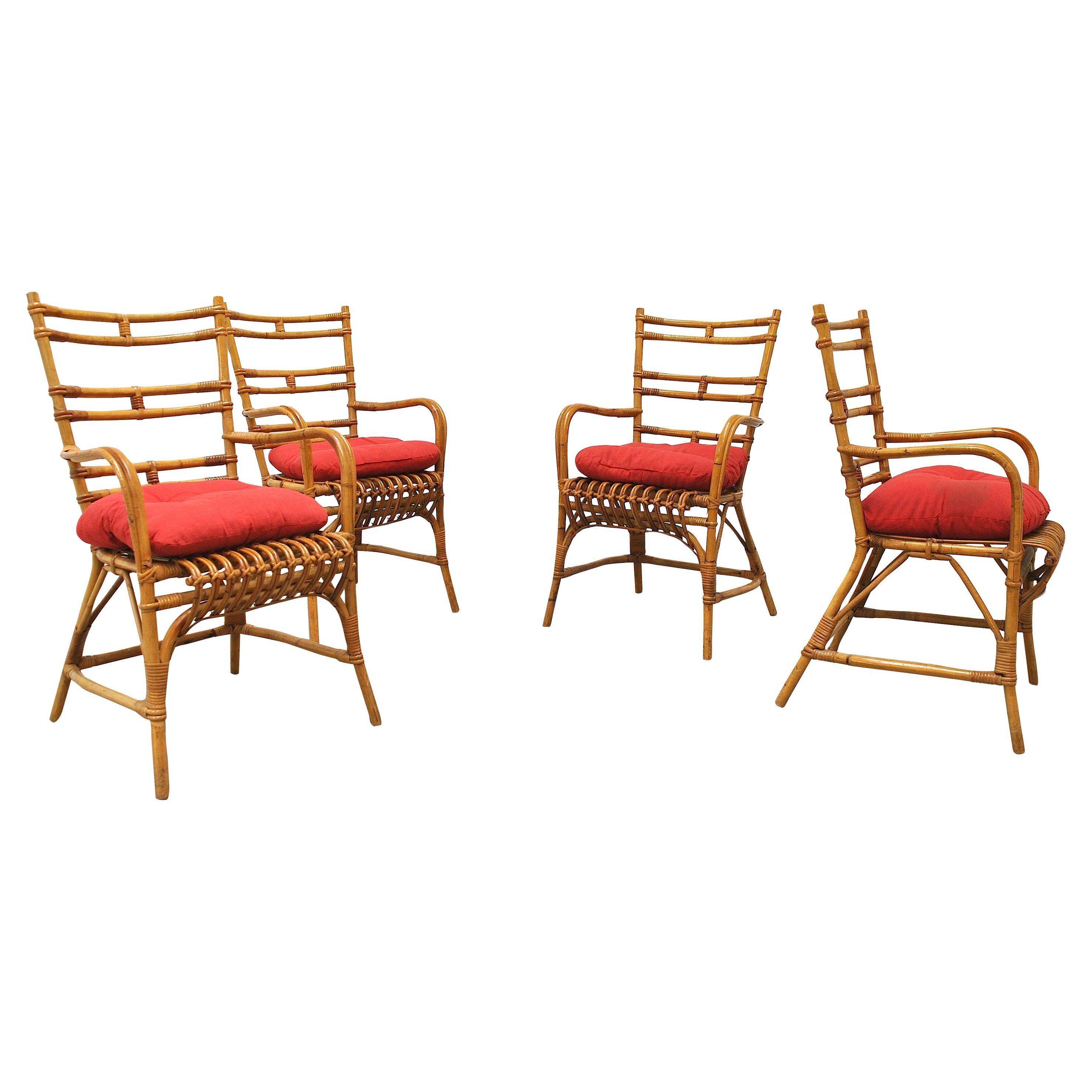 Midcentury Italian Chairs in Bambù, 1960s