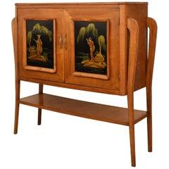 Midcentury Italian Cherrywood Chinoiserie Bar Cabinet, Style of Osvaldo Borsani