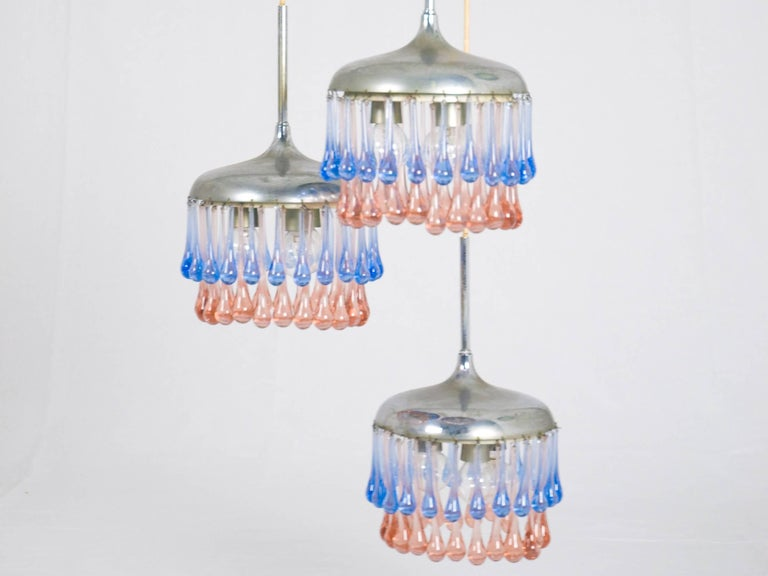 Mid-Century Modern Midcentury Italian Chrome and Glass Nine-Light Pendant Lamp by Stilnovo For Sale