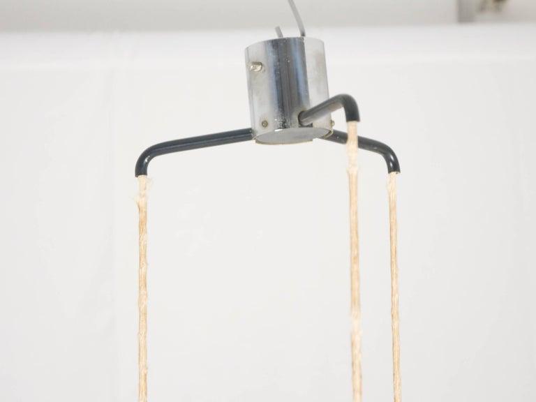 Painted Midcentury Italian Chrome and Glass Nine-Light Pendant Lamp by Stilnovo For Sale