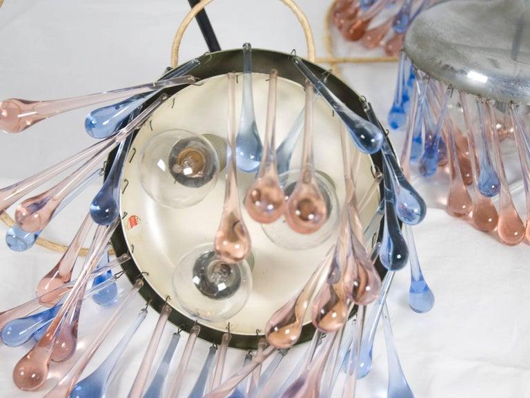 Metal Midcentury Italian Chrome and Glass Nine-Light Pendant Lamp by Stilnovo For Sale