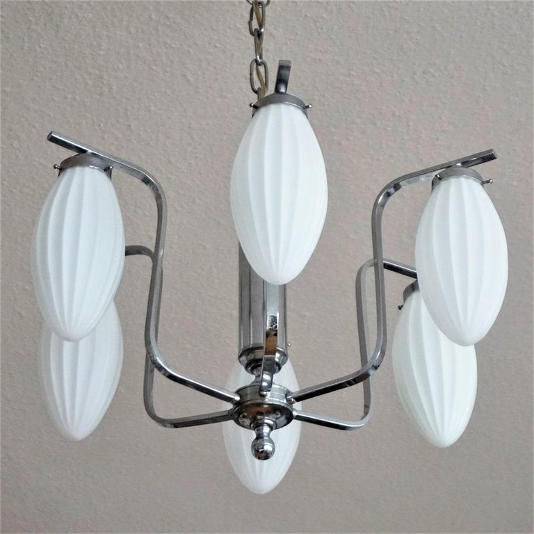 Stained Midcentury Italian Chromed Chandelier with Six Satin White Glass Globes, 1960s For Sale