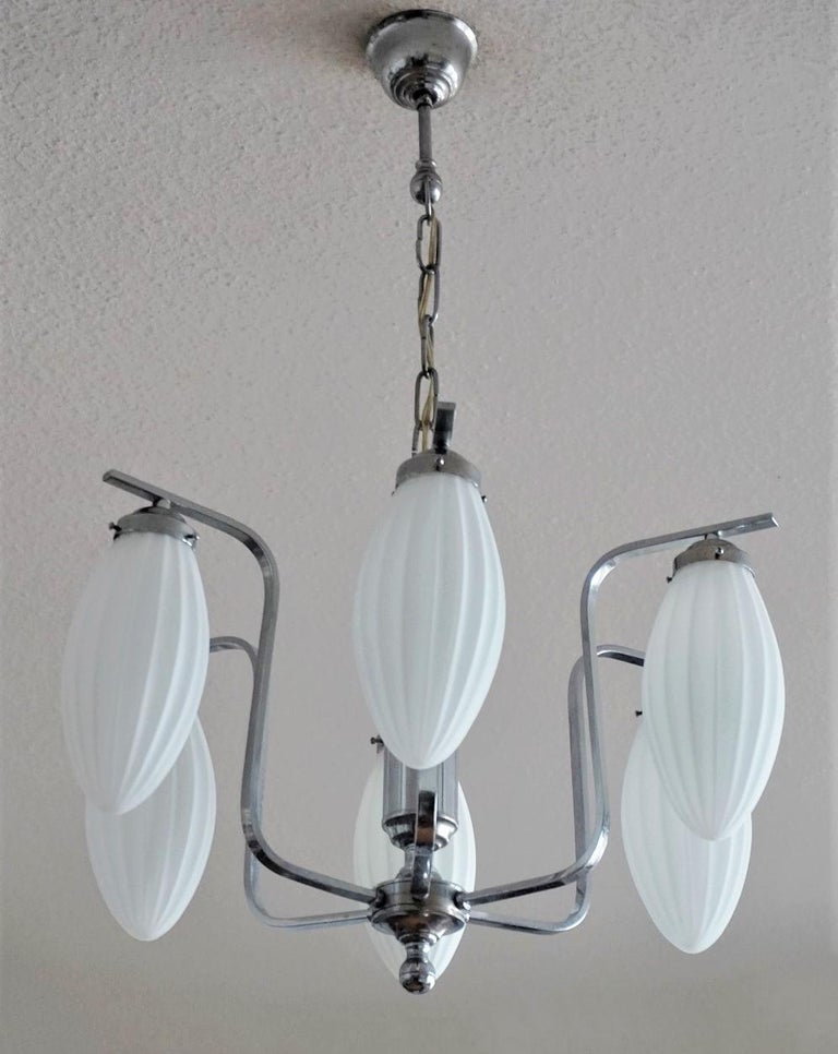 Midcentury Italian Chromed Chandelier with Six Satin White Glass Globes, 1960s In Good Condition For Sale In Frankfurt am Main, DE