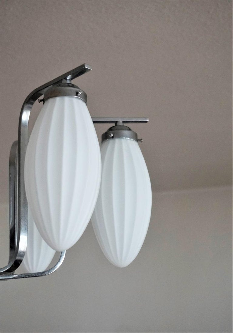 Midcentury Italian Chromed Chandelier with Six Satin White Glass Globes, 1960s For Sale 1