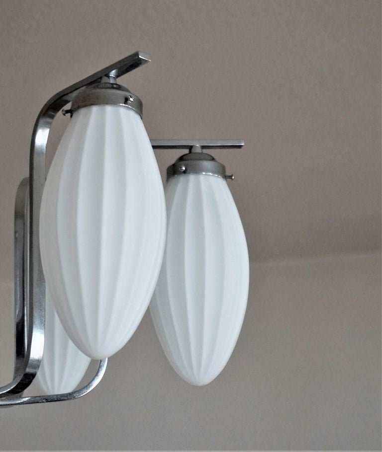 Midcentury Italian Chromed Chandelier with Six Satin White Glass Globes, 1960s For Sale 2