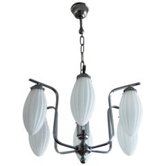 Midcentury Italian Chromed Chandelier with Six Satin White Glass Globes, 1960s
