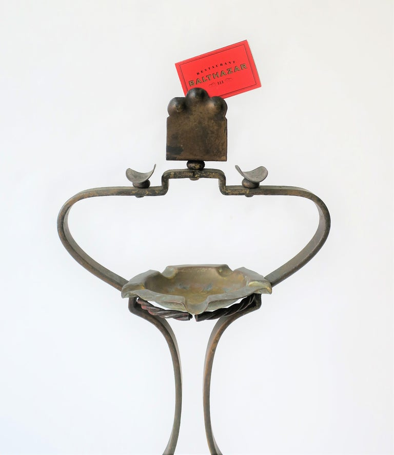 Brass Midcentury Italian Cigarette and Matchbook Ashtray Stand For Sale
