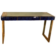 Midcentury Italian Cobalt Blue Glass and Brass Console Table