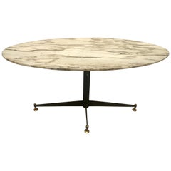 Midcentury Italian Coffee Table with Marble Top