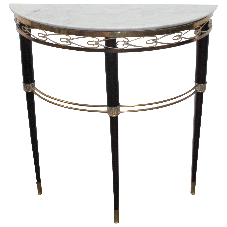 Midcentury Italian Console Table Brass and Carrara Marble Paolo Buffa Style