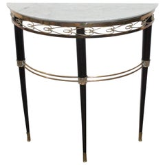 Midcentury Italian Console Table Brass and Carrara Marble Paolo Buffa Style