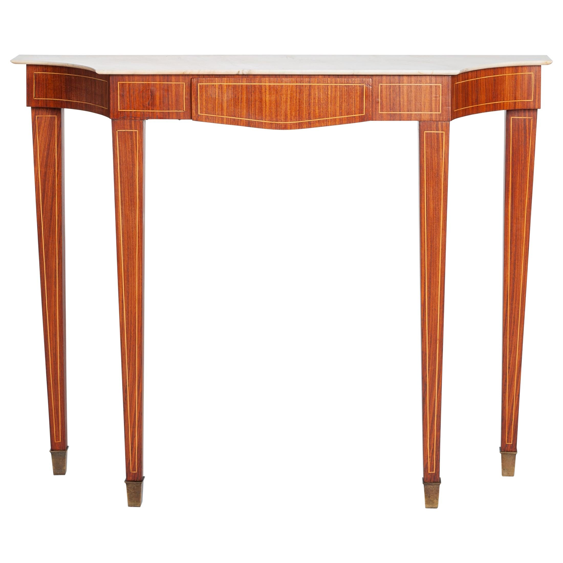 Midcentury Italian Console Table Palisander Wood and Marble Top by Paolo Buffa