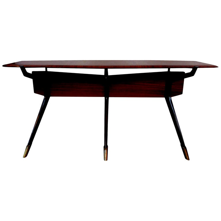 Mid-Century Italian Console Table, Style of Ico Parisi, Milan, circa 1950 For Sale