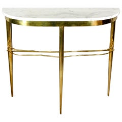 Midcentury Italian Console with Brass Base and White Marble Top