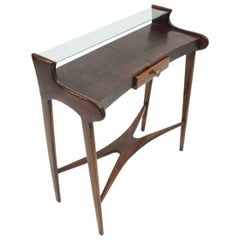 Midcentury Italian Console with Glass Shelf, 1950s