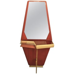 Midcentury Italian Consolle in Brass and Wood, 1960s