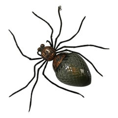 Midcentury Italian Copper and Glass Spider Sconce, 1960s