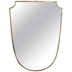 Midcentury Italian Crest-Shaped Wall Mirror with Brass Frame, 1950s, Large