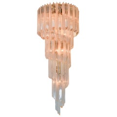 Midcentury Italian Crystal Waterfall Chandelier