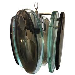 Midcentury Italian Cut Glass Pendant Lamp in the Style of Fontana Arte