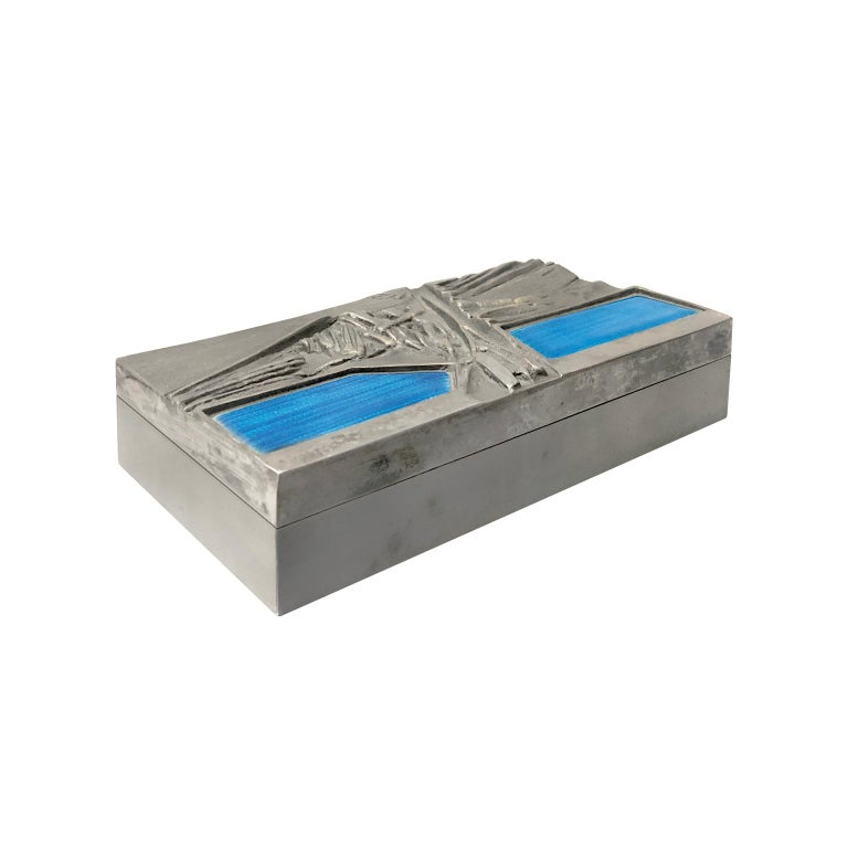 Del Campo engraved steel box with blue enamel lid detail, Italy, 1950s.