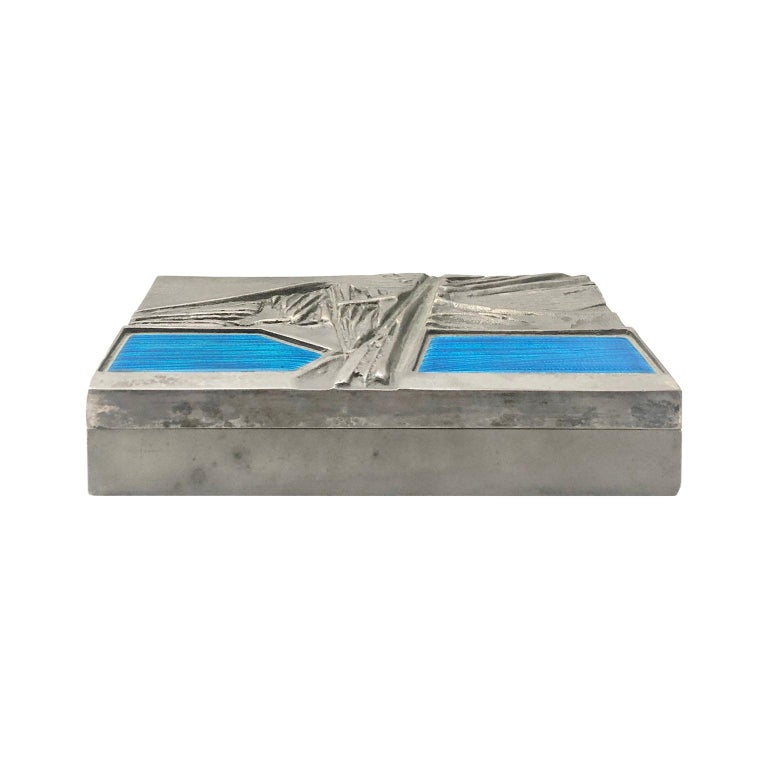 Midcentury Italian Del Campo Engraved Steel Box with Blue Enamel Lid Detail For Sale