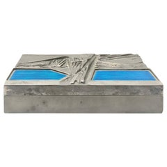 Midcentury Italian Del Campo Engraved Steel Box with Blue Enamel Lid Detail