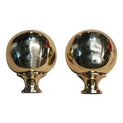 Midcentury Italian Design Ball Handles in Gold Brass, 1950
