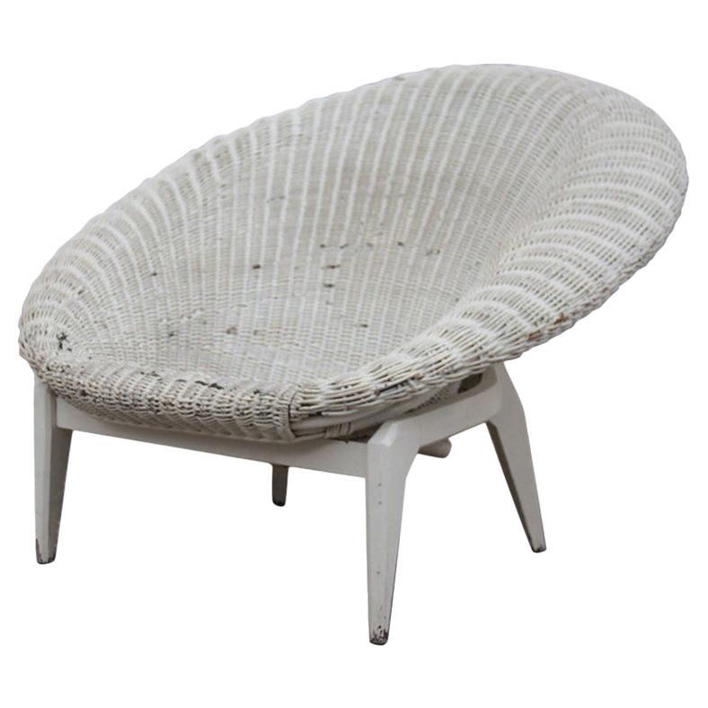 Midcentury Italian Design Bamboo Armchair White 1950 Curved