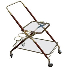 Midcentury Italian Design Bar Cart Wood and Brass Gold Glass Top Removable Tray