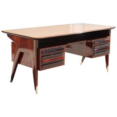 Midcentury Italian Design Desk Vittorio Dassi Mahogany Brass Feet Glass Top