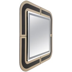 Midcentury Italian Designed Square Italian Mirror with Double Frame, 1980s