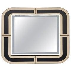 Midcentury Italian Designed Square Italian Mirror with Double Frame, 1980s
