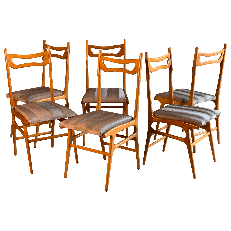 Midcentury Italian Dining Chairs Set of Six, circa 1950s