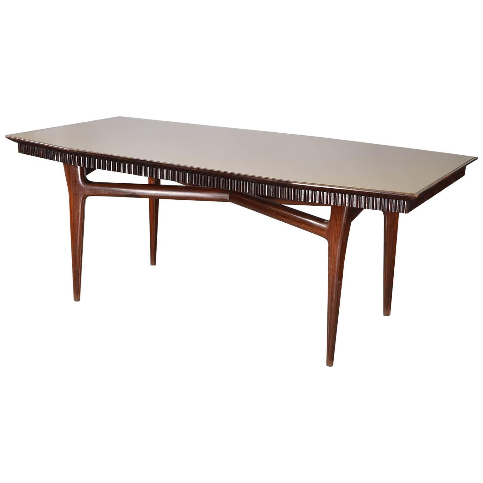 Midcentury Italian Dining Table with Green Glass Top and Fluted Edge