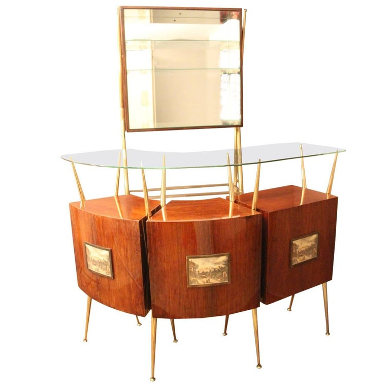 Midcentury Italian Dry Bar Cabinet in the Style of Gio Ponti