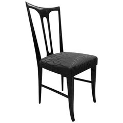 Midcentury Italian Ebonized Occasional Chair in Black Patterned Satin