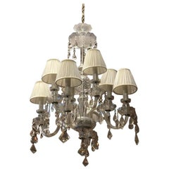 Midcentury Italian Eight Bulbs Crystal Chandelier from 1960s