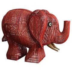 Midcentury Italian Elephant Wicker Container, 1960s
