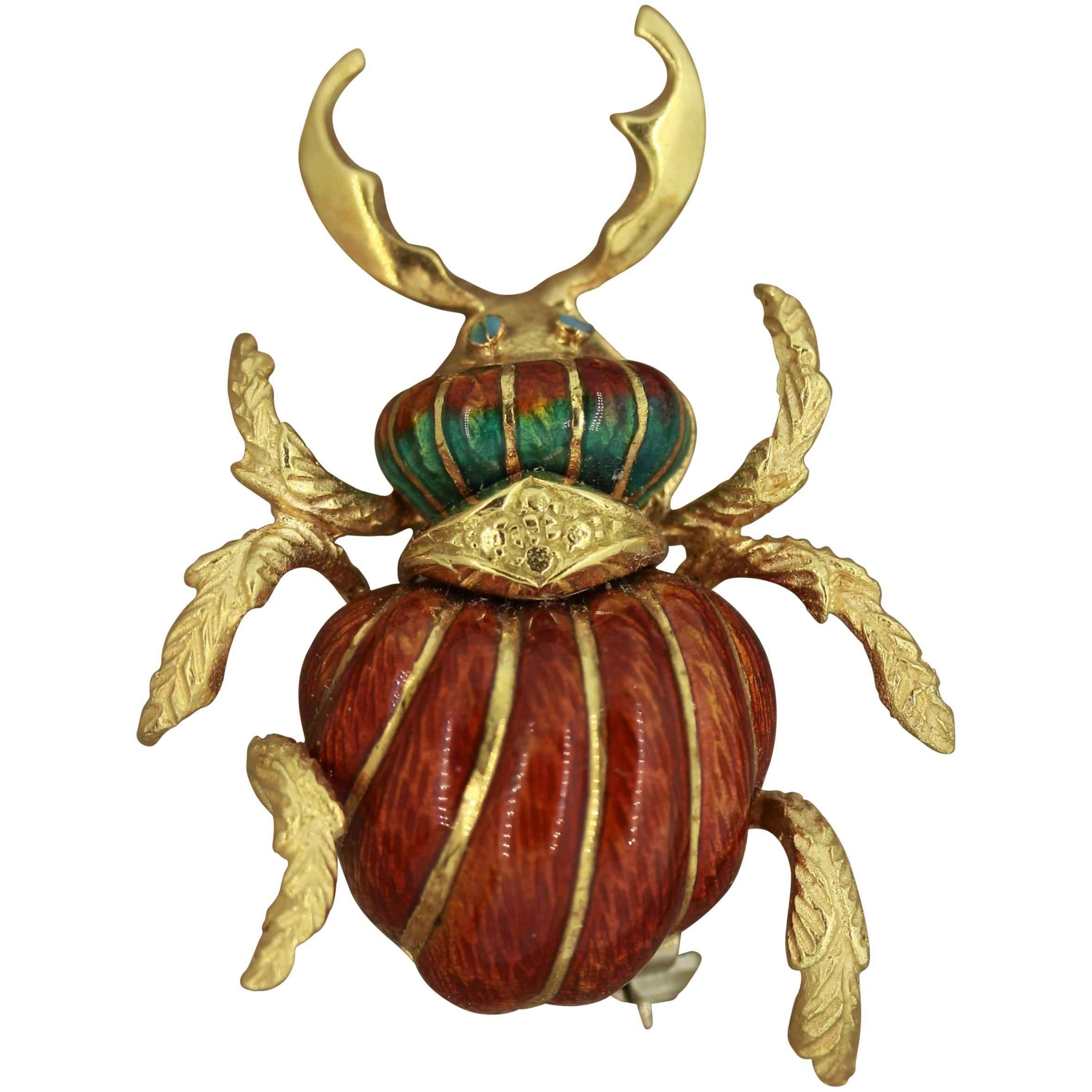 Midcentury Italian Enameled Gold Horned-Beetle Pin Brooch