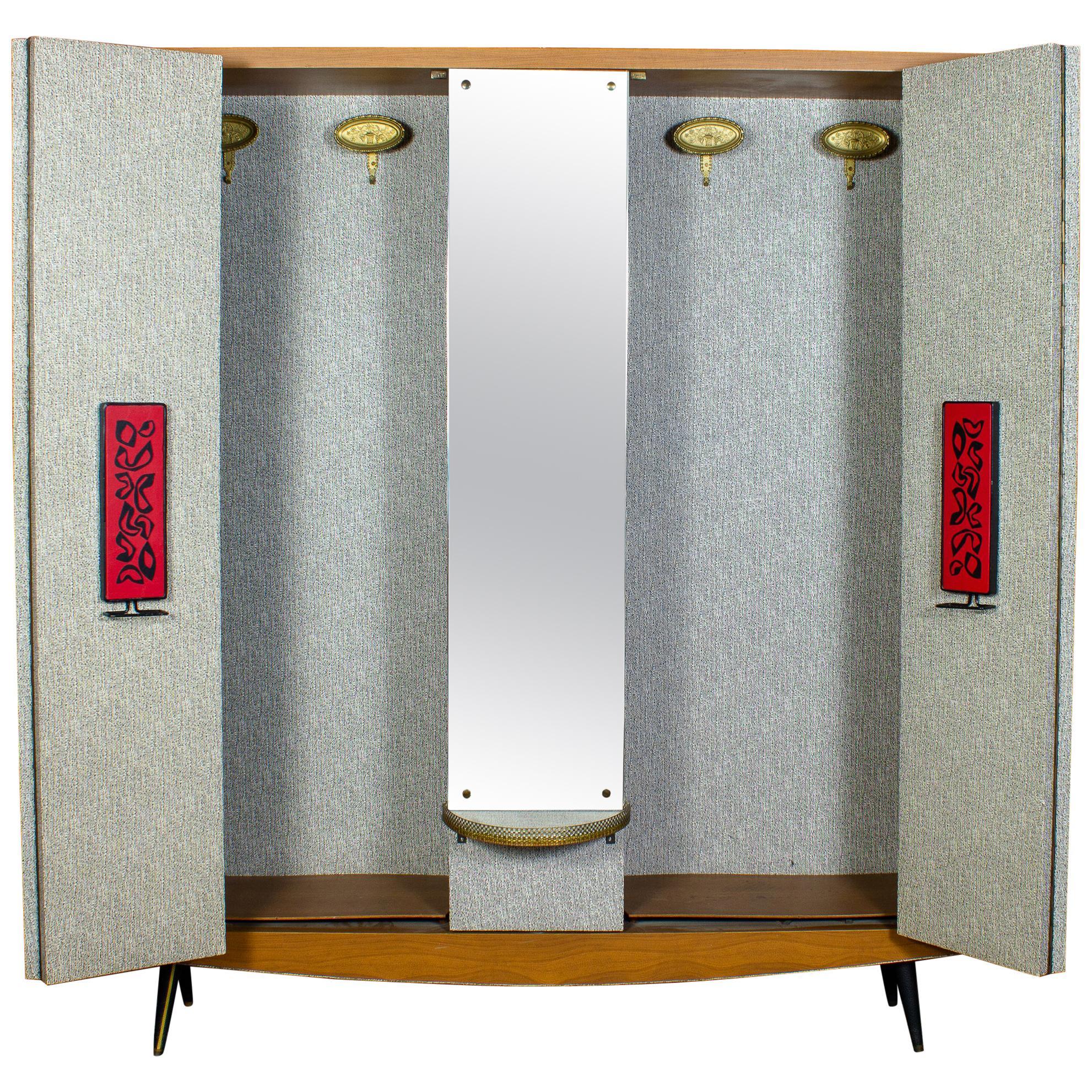 Midcentury Italian Entrance Wardrobe with Mirror by Umberto Mascagni