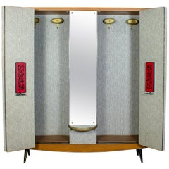 Midcentury Italian Entrance Wardrobe with Mirror by Umberto Mascagni