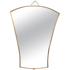 Midcentury Italian Fan-Shaped Wall Mirror with Brass Frame, circa 1950s, Small