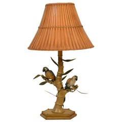 Midcentury Italian Faux Bamboo Table Lamp with Parrots and Bamboo Lamp Shade